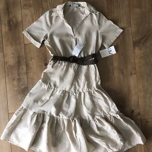 ZARA CREME BELT DRESS